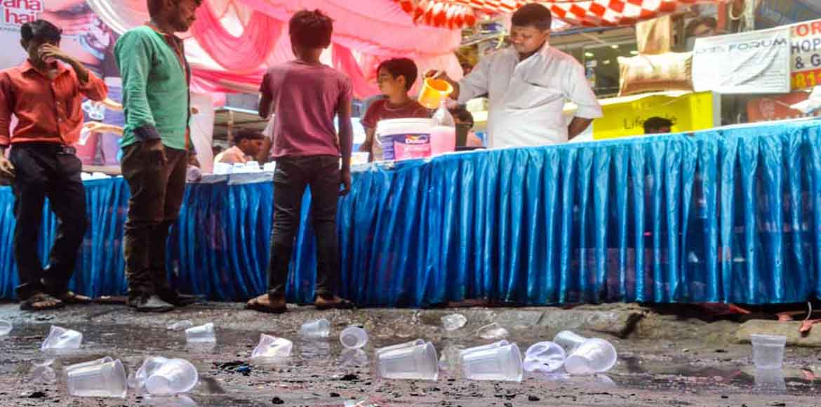 They offered glasses of sweet water to every passer-by, but forgot the dustbin!
