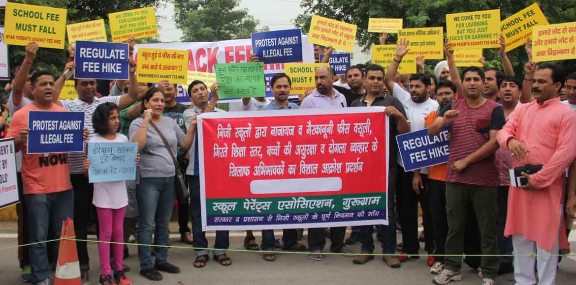 Parents protest against fee hike by Gurgaon schools
