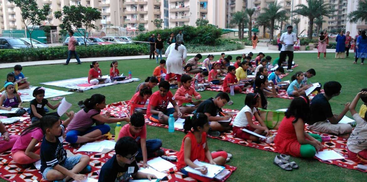 Supertech Capetown, Noida: Maths Olympiad on Bapuji's birthday