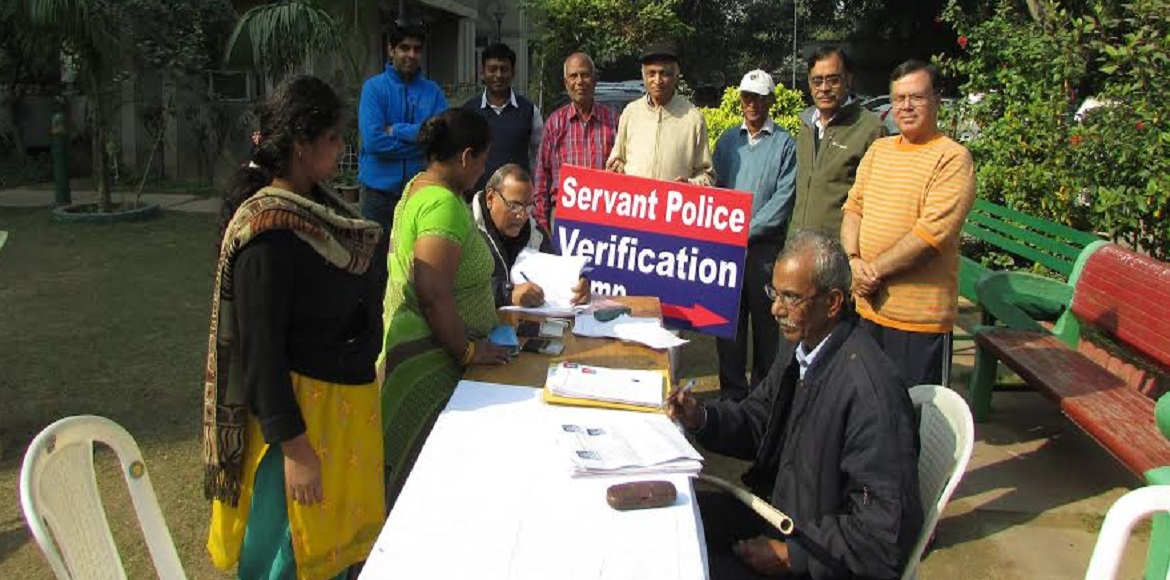 Abhiyan CGHS, Dwarka: Police verification camp for domestic helps and workers