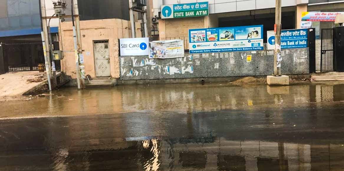Sec 61, Noida: That's Ganga jal you see flooding the road
