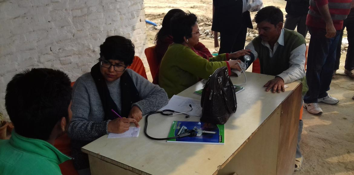 Free medical check-up camp for construction workers in Dwarka