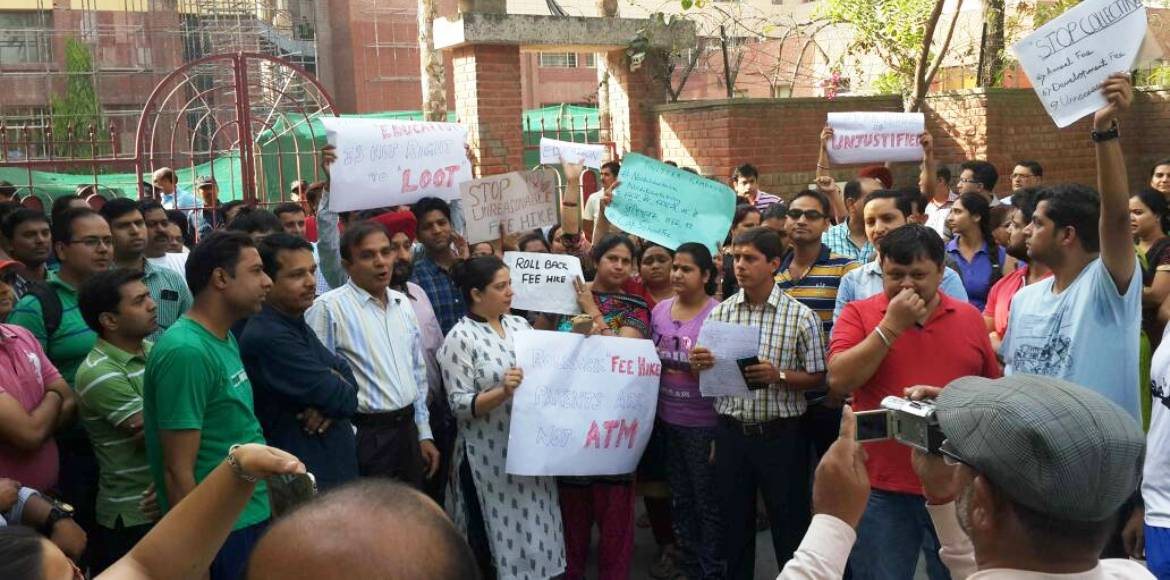 Will the parents' protest affect Khaitan Public School's decision?