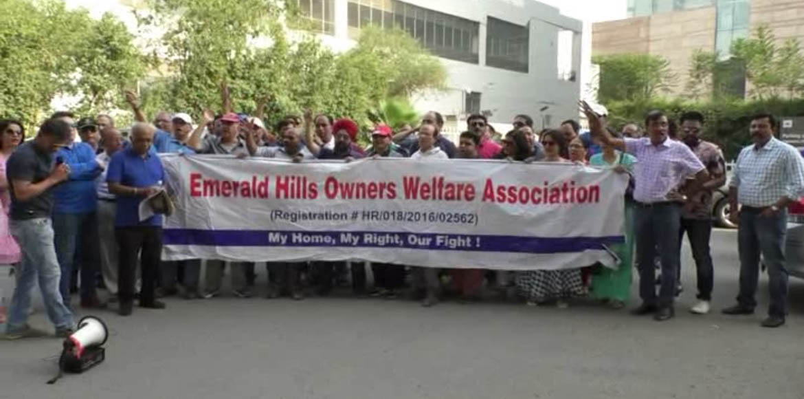 Gurgaon: Emerald Hills homebuyers protest against