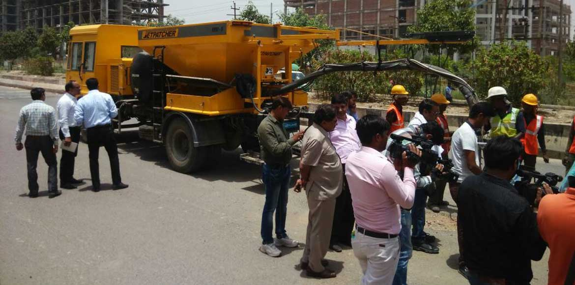 Noida Authority brings eco-friendly tech to swiftly repair potholes