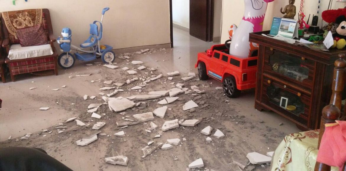 Skytech Matrott: Close call for toddler as ceiling plaster crashes down