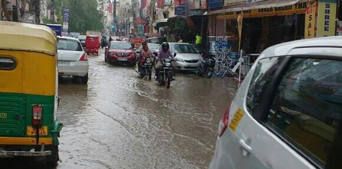Roads in Sector 7 of Dwarka resemble canals