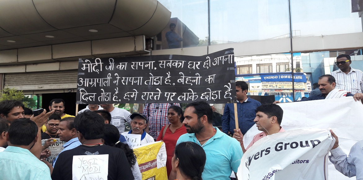 Noida: Angry buyers of the Amrapali Group drummed their dissent today