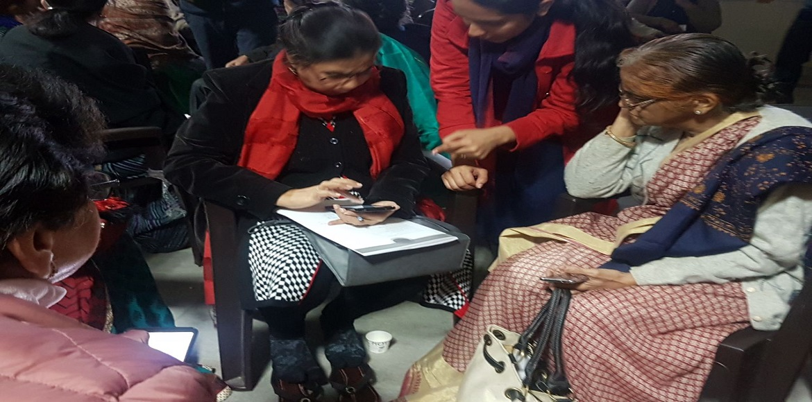 Digital literacy for senior women of Dwarka by ANHLGT and Help Age India