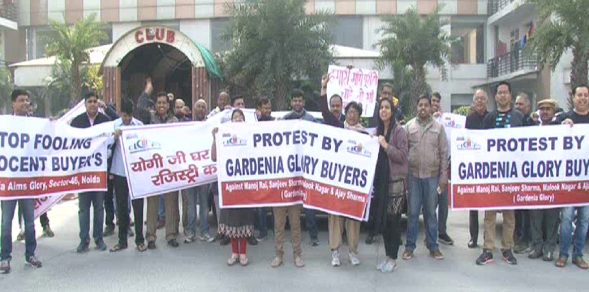 Noida: Gardenia Glory buyers stage protest against builder for delay of flats