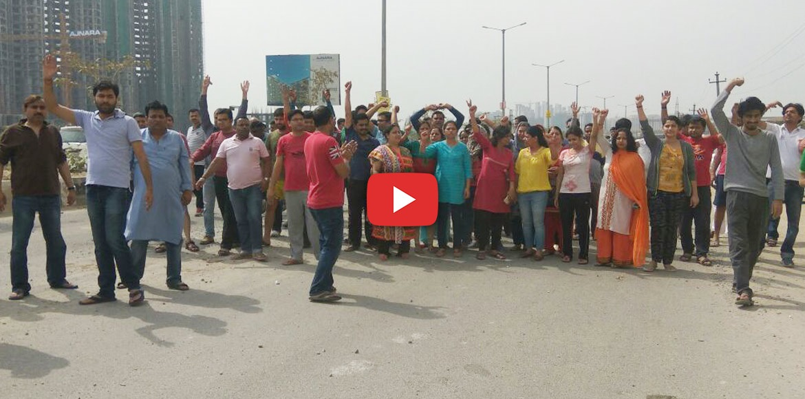 Noida: A second protest march staged today by residents of Antriksh Golf View 2