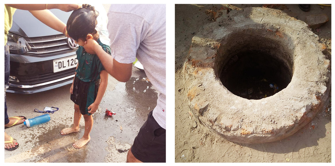 Girl falls into open manhole in front of Supertech