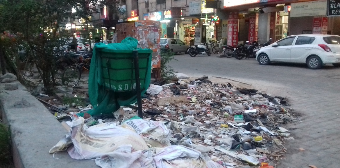 Dwarka: Filth around hanging dustbins mocks 'Clean India' campaign