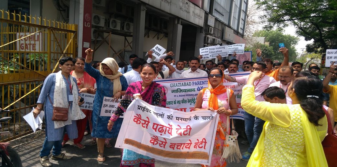 Ghaziabad: Parents protest against delay in passag