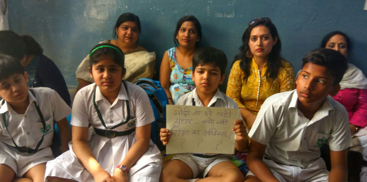 DPS I'Puram parents protest denial of kids promotion on refusal to pay extra fee