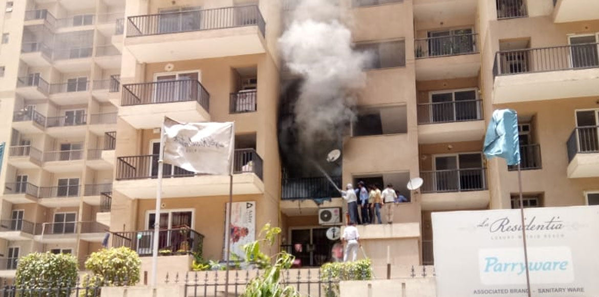 Flat in Noida Extension's La Residentia society catches fire