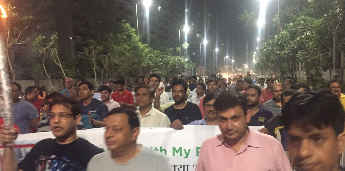 Noida Extension residents conduct candle march against landfill at Sector 123