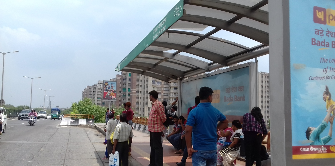 Dwarka: Damaged roofs of bus shelters leave commuters helpless