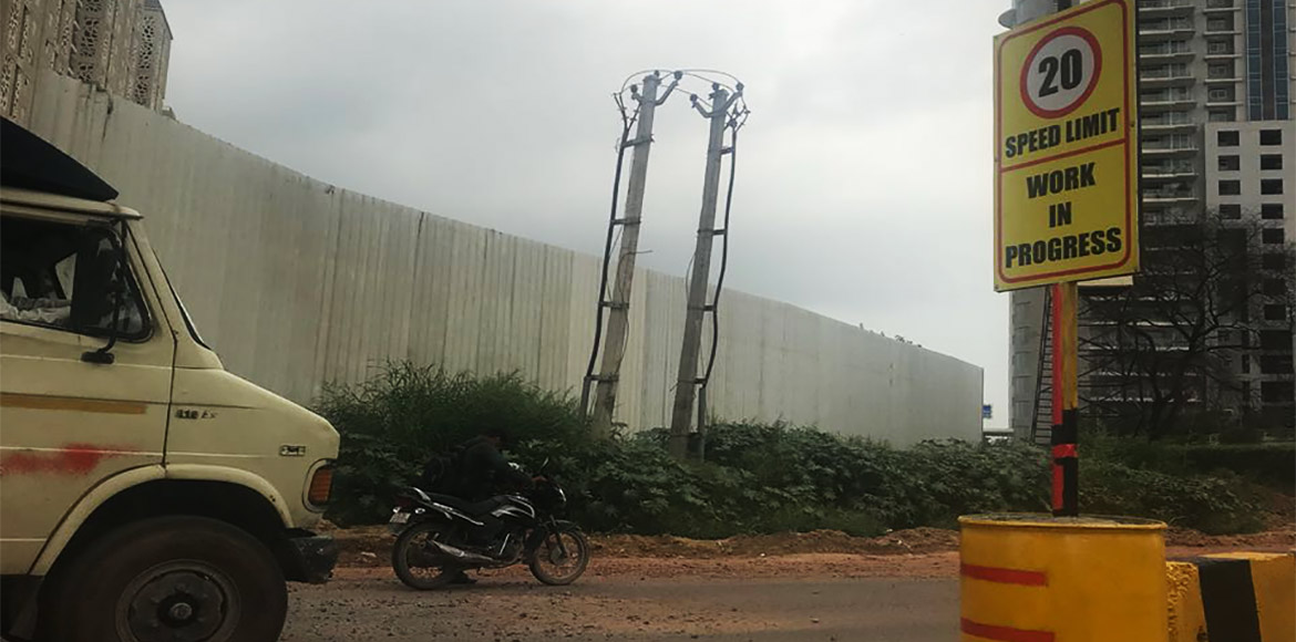 Jersey barriers kept at Golf Course Road in Gurgao