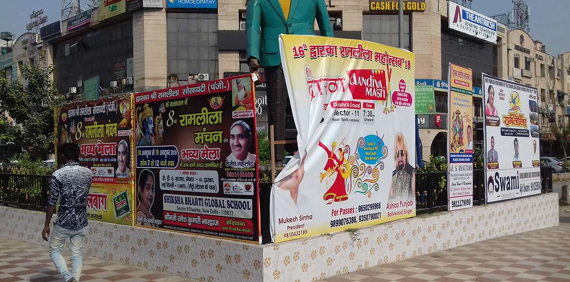 Dwarka: Commuters face difficulty with festive hoardings, banners at circles