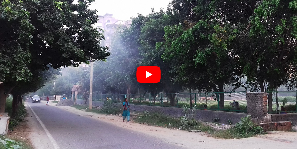 People struggle to ward off health repercussions due to smoke at park in Dwarka