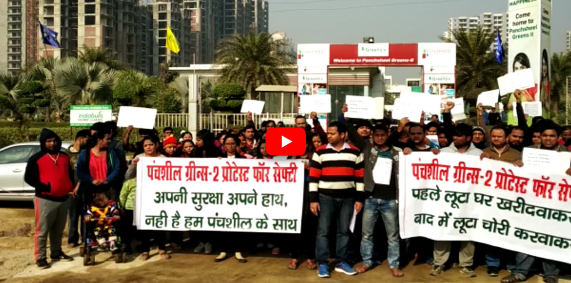 Panchsheel Greens 2 burglaries: Over 500 residents protest against the developer