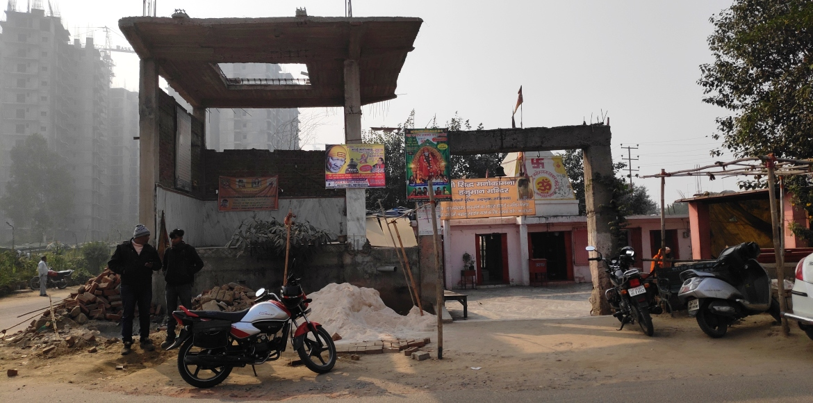 Gzb police demolishes under-construction room of a temple; residents fume