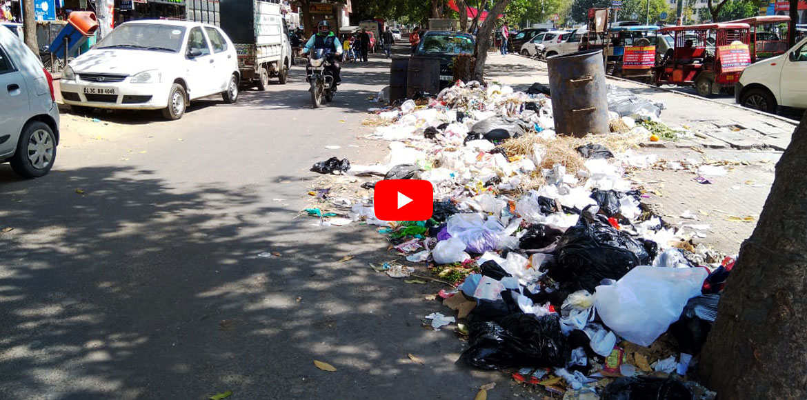 Dwarka: Scattered garbage near Sector 4 market irks all! WATCH VIDEO