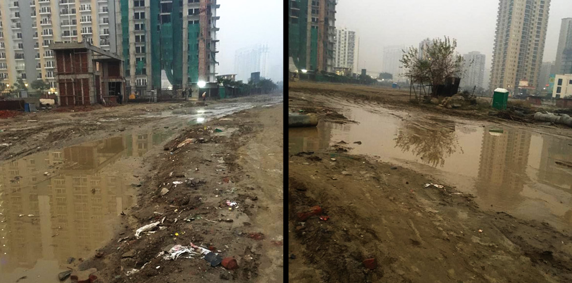 Noida: Swampy road annoys residents of 4 high-rises in Sec 75; demand action