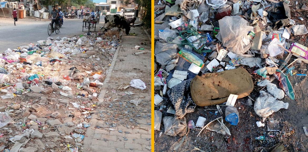 Gurugram: Regular dumping of waste on main road ca