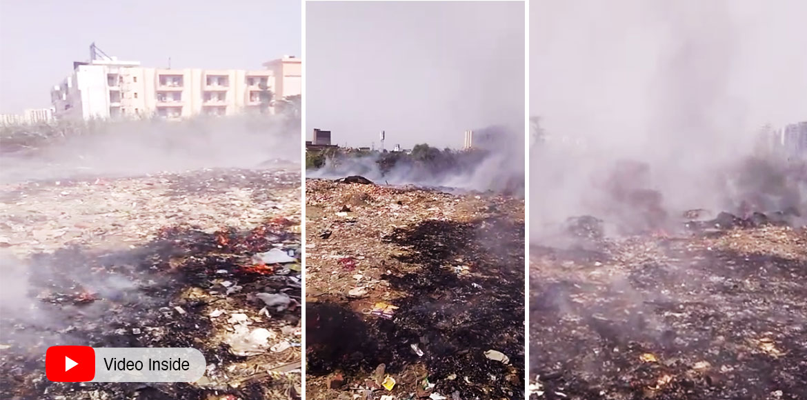 Large-scale burning of waste reported from Raj Nag