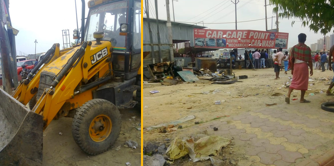 Noida: Many illegal shops demolished during anti-encroachment drive at Sec 74