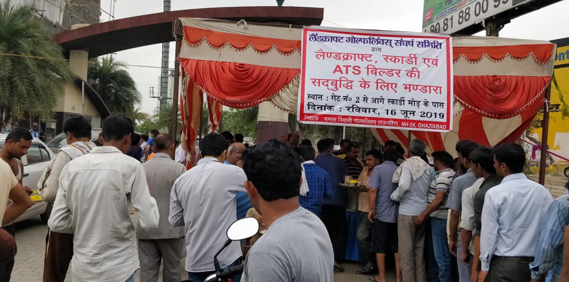 Gzb: Residents of Golf Links organise 'bhandara' to protest developer's move
