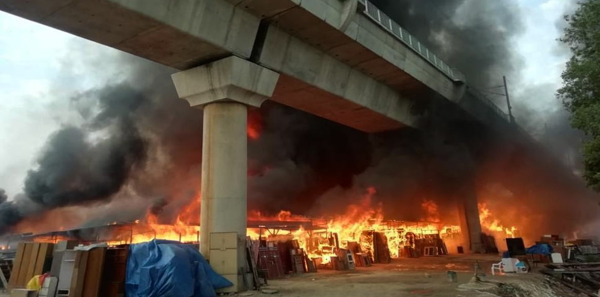 Massive fire near Kalindi Kunj metro station doused; rail services resume