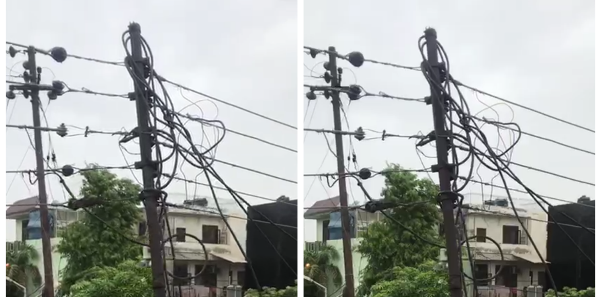 Noida: Hanging electric pole may fall anytime; can