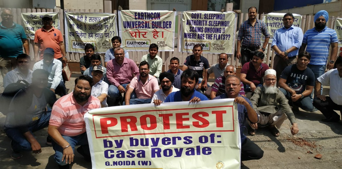 Flats possession: Buyers of Casa Royale protest outside developer's office