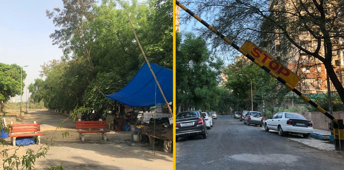 Dwarka: Odd placement of benches, boom barrier troubles Sec 18 residents