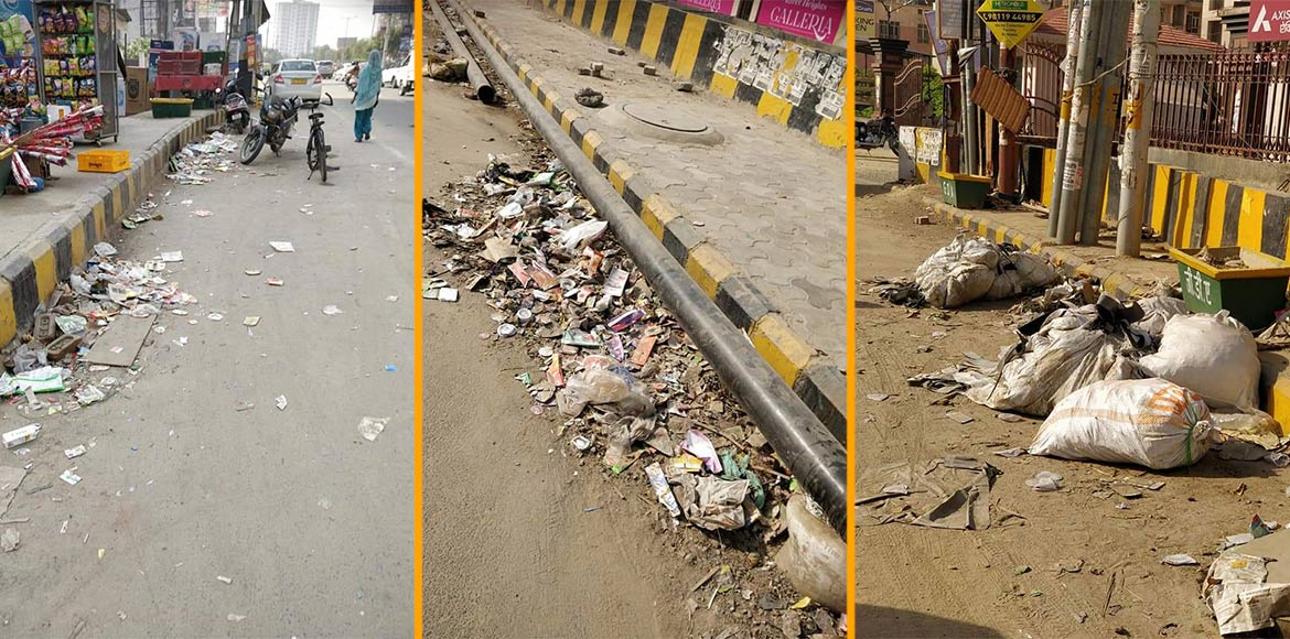 Raj Nagar Extn: Garbage sways on road making thing