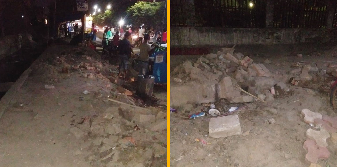 Amarapali Zodiac residents complain against broken footpath built recently