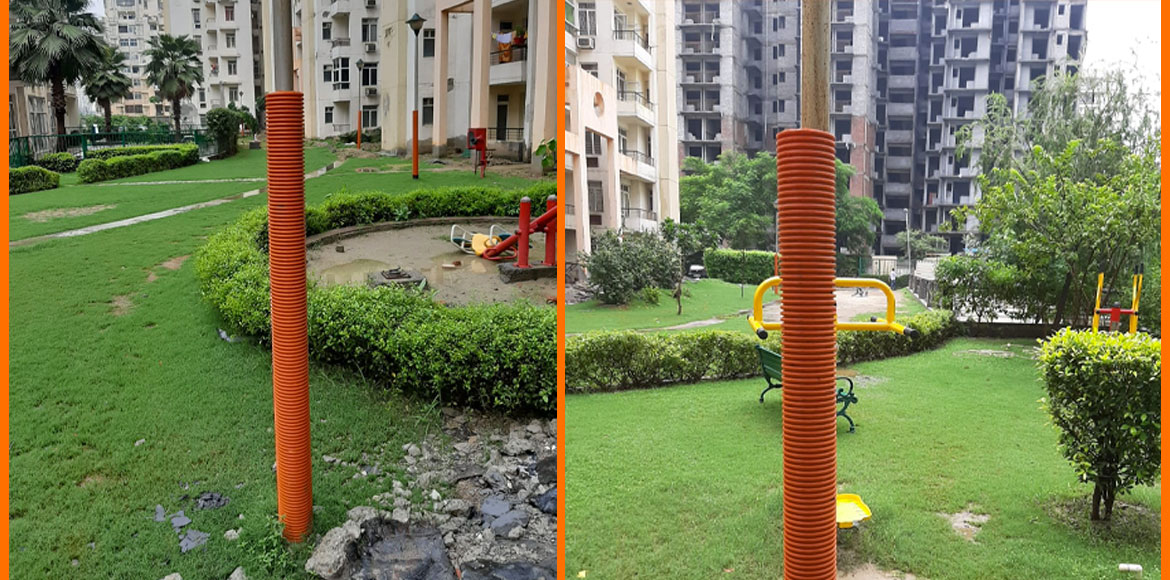 Raj Nagar Extension: Signature Homes AOA insulate electric poles