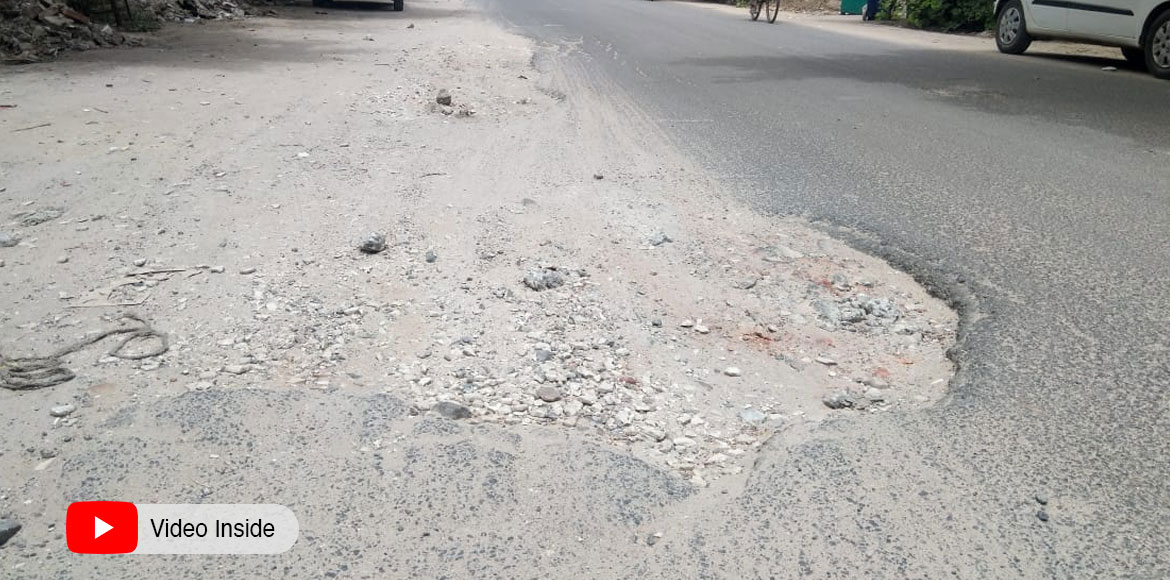 Dwarka: Damaged roads in front of societies irk residents of Sector 3