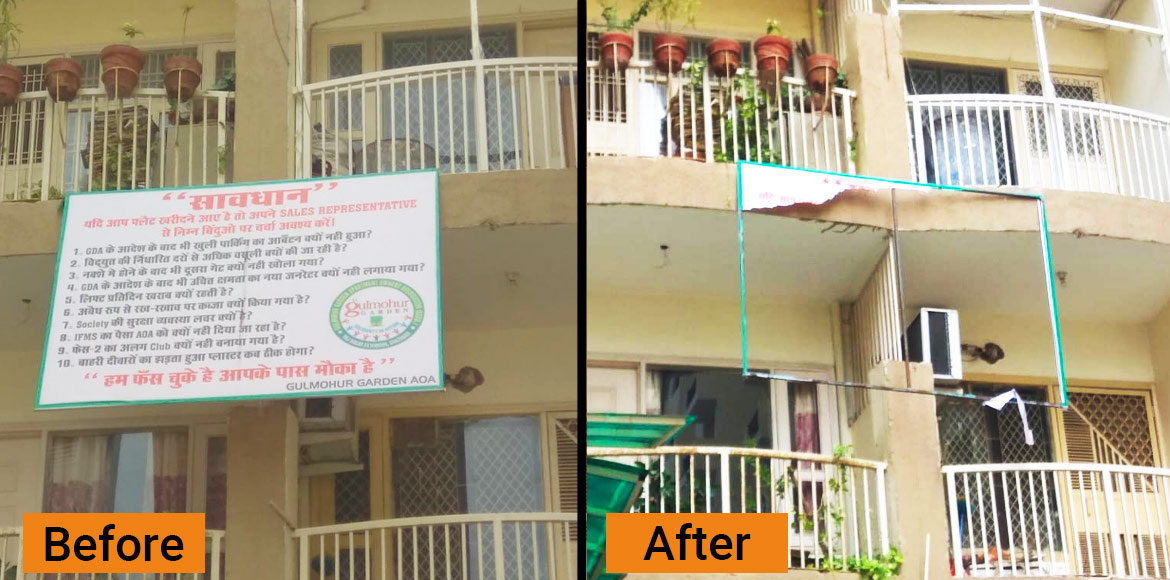 Raj Nagar Extn: Gulmohar Garden AOA says builder removed protest posters