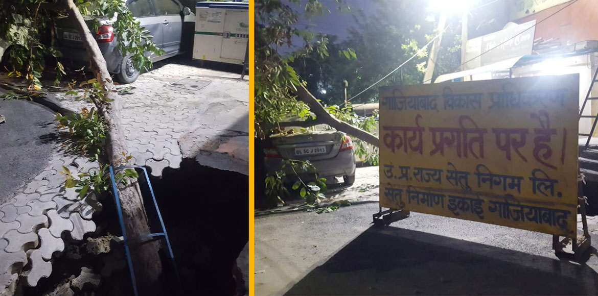 Two road cave-ins in Indirapuram leave residents i