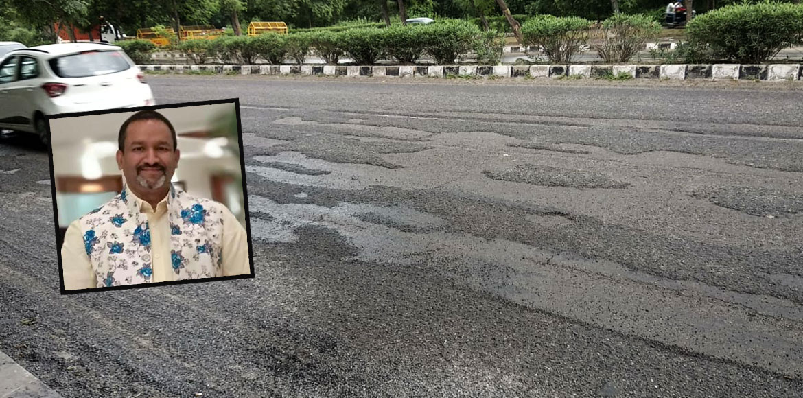 RESIDENT SPEAK: Damaged road in sector 21, Dwarka makes it prone to accident