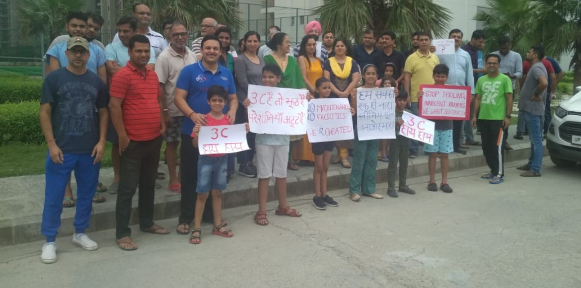 Noida: Residents of Lotus Zing protest outside DM