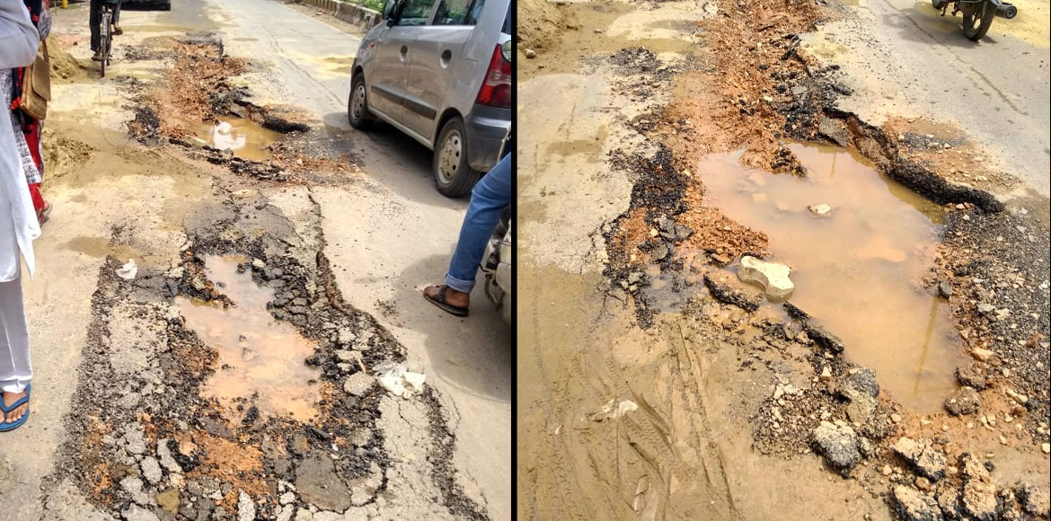 Indirapuram: Portion of road near Princess Park caves in