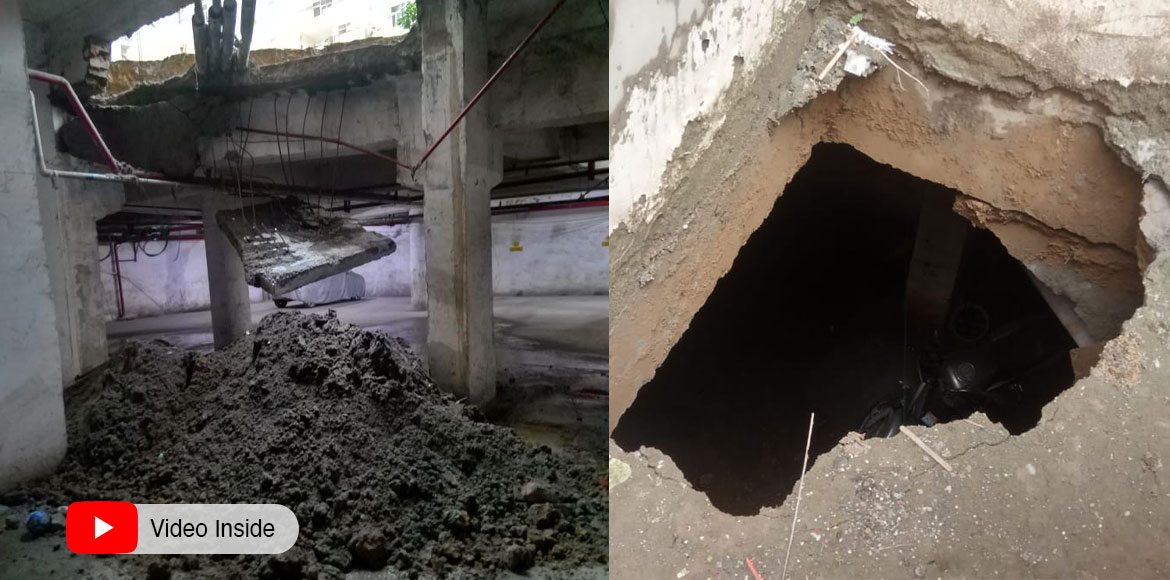 Portion of basement ceiling falls in Raj Nagar Extension