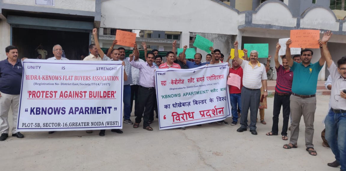 Rudra KBKNOWS home-buyers protest against builder for not getting possession
