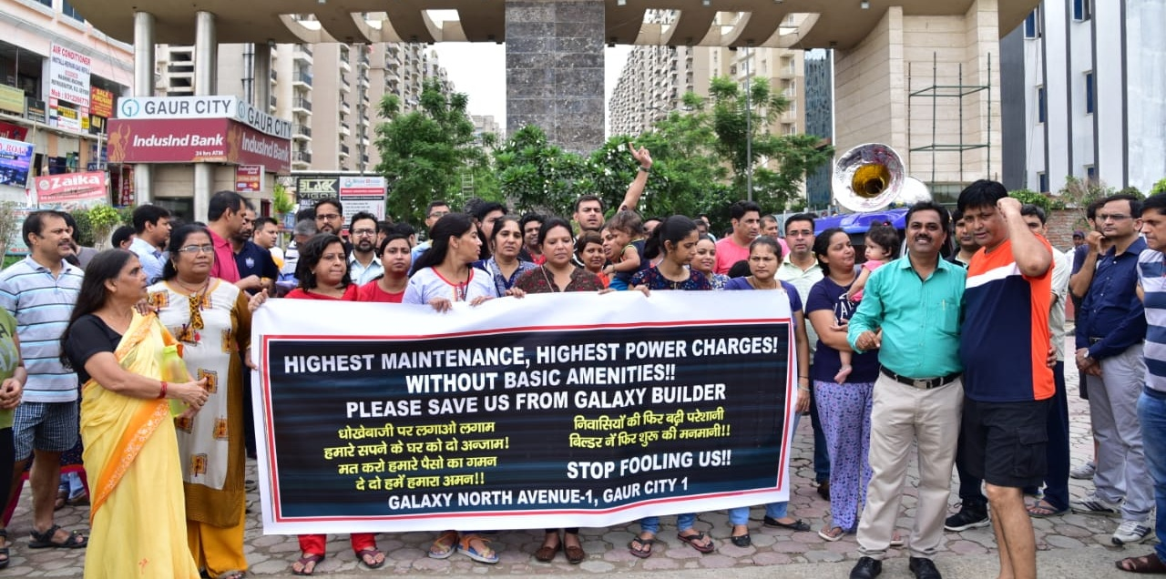 GreNo: Galaxy North Avenue residents protest against hiked maintenance charge