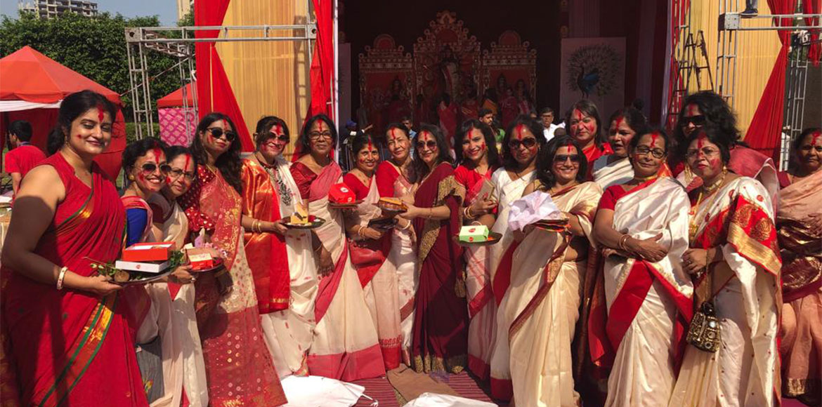 New Gurugram residents bid green farewell to Maa Durga